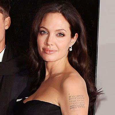 Tetovaža na nadlaktici Angeline Jolie je nešto poput mape mjesta ...